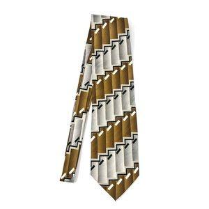 Bergamo New York Gold + Silver Patterned Tie
